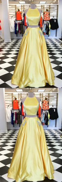 Sweet 16 Dresses | Fashion yellow satin strapless two pieces long homecoming dress with silver beading