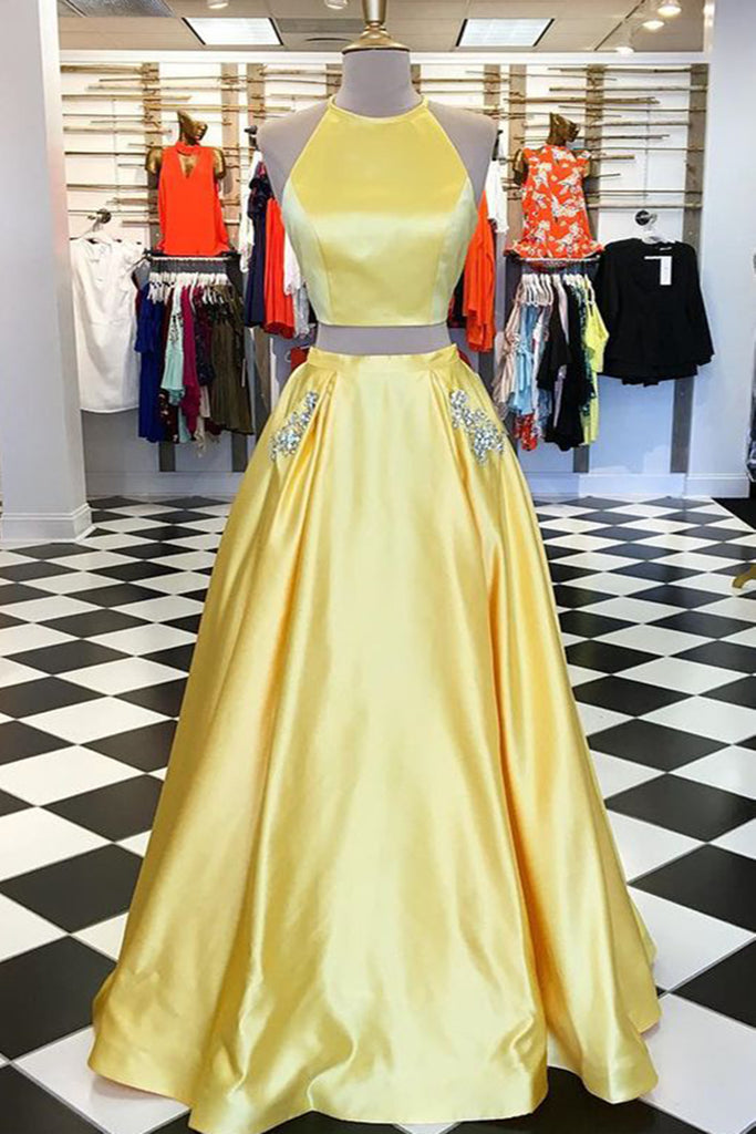 Fashion yellow satin strapless two pieces long homecoming dress with ...