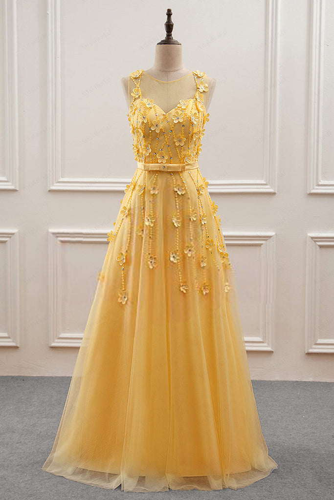 Sweet 16 Dresses | Elegant yellow tulle long sleeveless halter evening dress, long 3D flower beaded prom dress