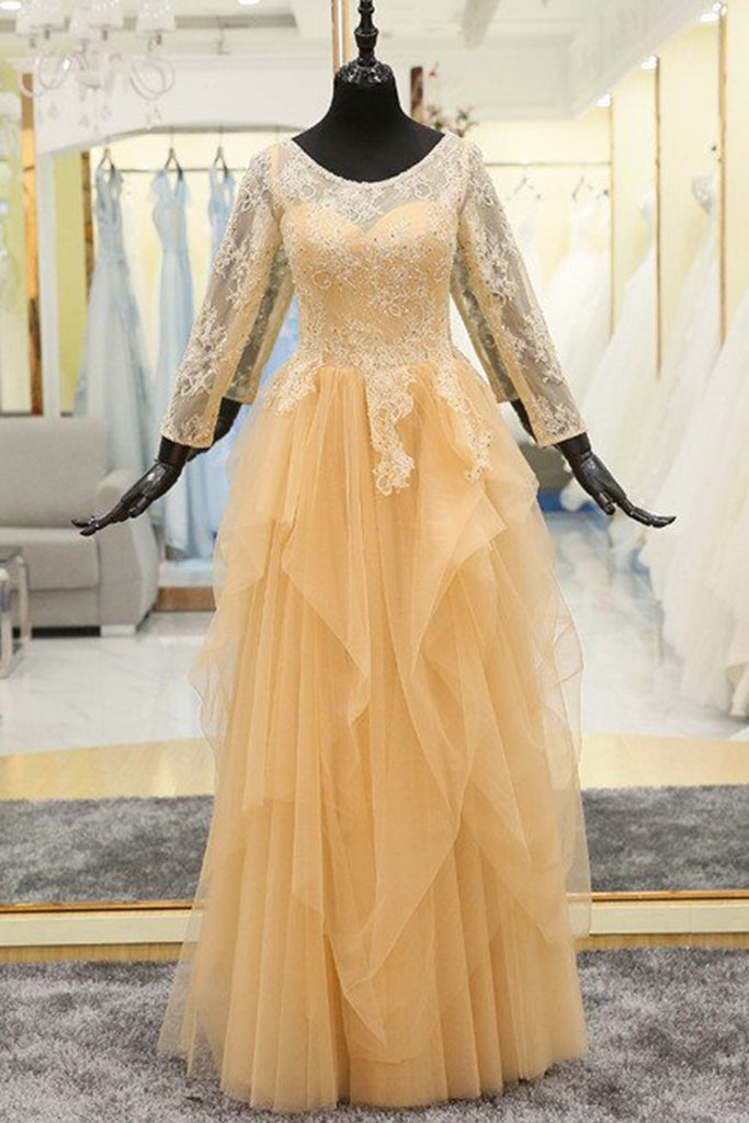 74898dd5296f Light Yellow Tulle Ruffles Long A Line Formal Lace Prom Dress With 3/4  Sleeves
