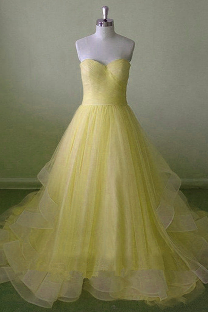 Sweet 16 Dresses | Yellow tulle sweetheart neck floor length lace up customize bridesmaid dress