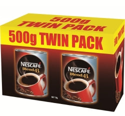 COFFEE NESCAFE BLEND 43 CAN 500G TWIN PACK
