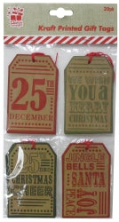 GIFT TAGS XMAS 6X9CM KRAFT RETRO PRINT ASST DESIGNS 20PC