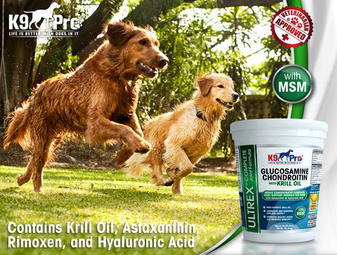 Image of ULTREX Glucosamine Dog Joint Supplement with Krill Fish Oil Chondroitin MSM & Astaxanthin In A Tasty Chewable Treat Dogs Love - k9pro-store