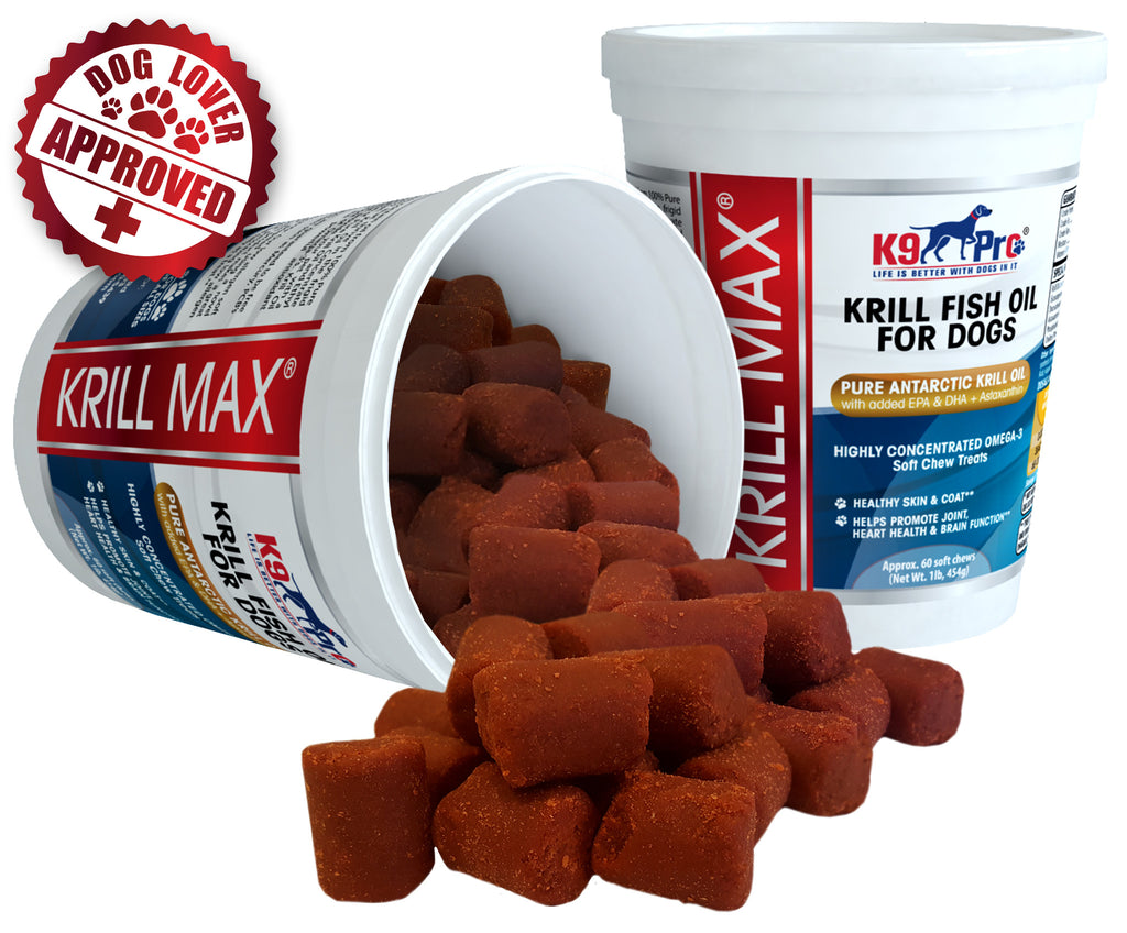 Krill MAX Fish Oil For Dogs - 60 Soft & Moist Tasty Treats W EPA and D | k9pro-store