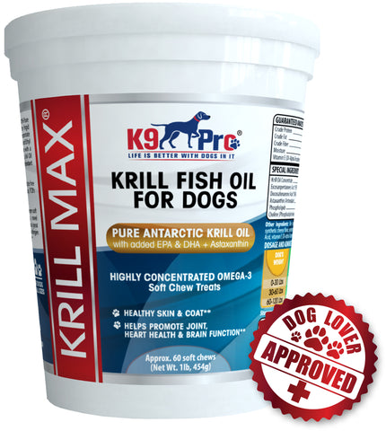 Krill MAX Fish Oil For Dogs - 60 Soft & Moist Tasty Treats W EPA and DHA Plus Astaxanthin - k9pro-store