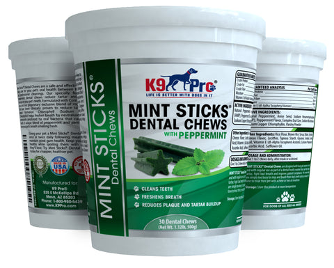 Mint Sticks Dog Dental Chews - 30 Premium Teeth Cleaning Natural Peppermint Chew Treats Dogs Love. Best For Oral Hygiene Care Prevents Bad Breath Reduces Plaque and Tarter Buildup - k9pro-store