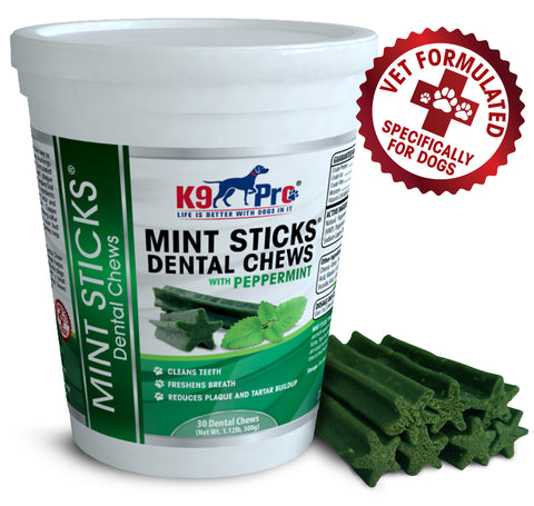 Image of Mint Sticks Dog Dental Chews - 30 Premium Teeth Cleaning Natural Peppermint Chew Treats Dogs Love. Best For Oral Hygiene Care Prevents Bad Breath Reduces Plaque and Tarter Buildup - k9pro-store