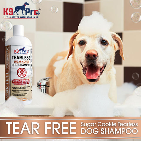 Image of Tear Free Dog Shampoo - Best Hypoallergenic Tearless Anti Itch Vet Formula For Dogs With Allergies And Dry Itchy Sensitive Skin - Soothing and Gentle on Your Puppies Eyes - Sugar Cookie Scent - k9pro-store