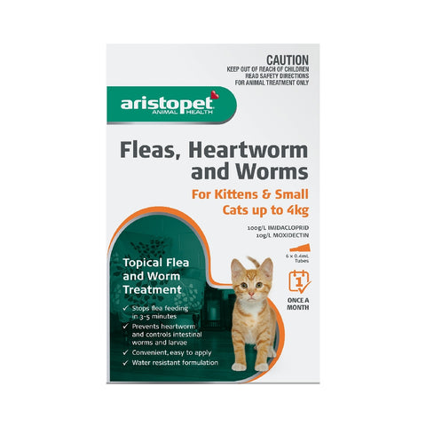 ARISTOPET CAT 6PK UP TO 4KG FLEAS, HEARTWORM & WORMS | Southside Stockfeeds Kilmore