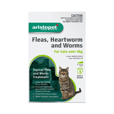 ARISTOPET CAT 6PK OVER 4KG FLEAS, HEARTWORM & WORMS | Southside Stockfeeds Kilmore