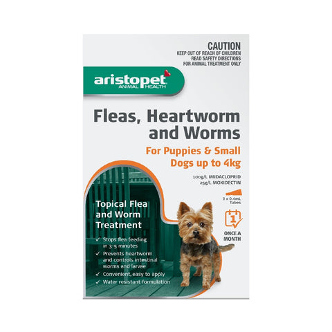 ARISTOPET DOG/PUPPY 3PK UP TO 4KG FLEAS, HEARTWORM & WORMS | Southside Stockfeeds Kilmore