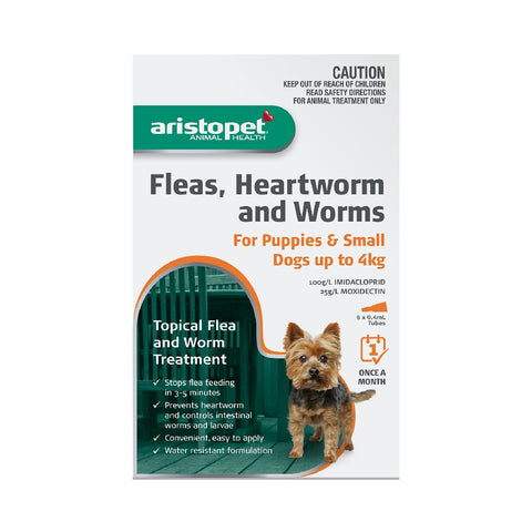 ARISTOPET DOG/PUPPY 6PK UP TO 4KG FLEAS, HEARTWORM & WORMS | Southside Stockfeeds Kilmore