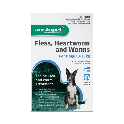 ARISTOPET DOG 3PK 10-25KG FLEAS, HEARTWORM & WORMS | Southside Stockfeeds Kilmore