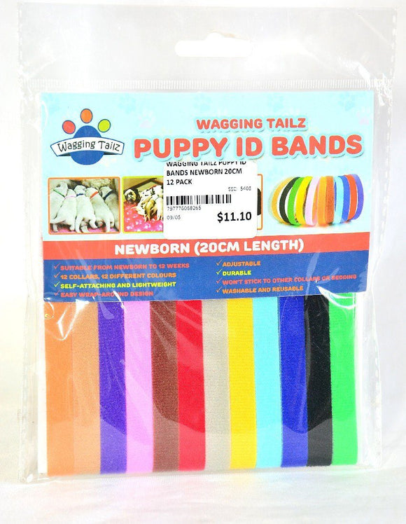 WAGGING TAILZ PUPPY ID BANDS NEWBORN 20CM 12 PACK