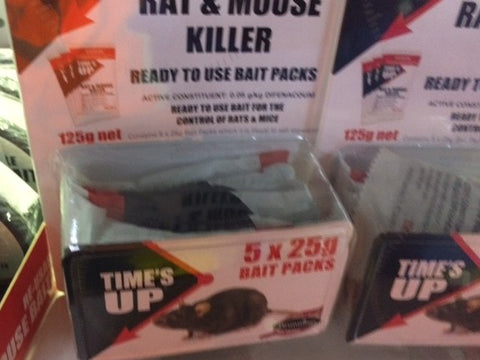 TIMES UP RAT AND MOUSE KILLER 5 SACHETS 125G | Southside Stockfeeds