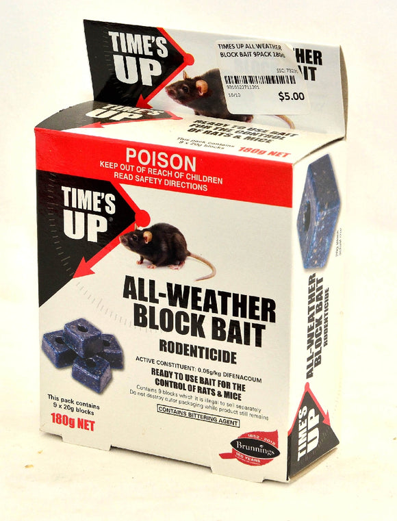TIMES UP ALL WEATHER BLOCK BAIT 9PACK 180G