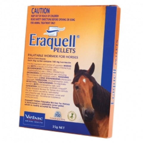 VIRBAC ERAQUELL PELLETS PALATABLE WORMER FOR HORSES 35G | Southside Stockfeeds Kilmore