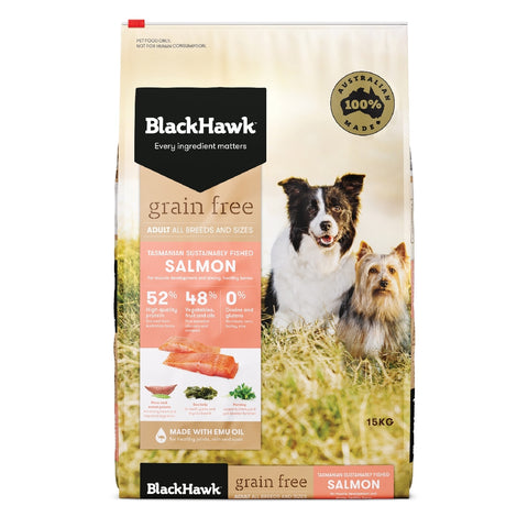BLACKHAWK DOG GRAINFREE SALMON 15KG | Southside Stockfeeds Kilmore