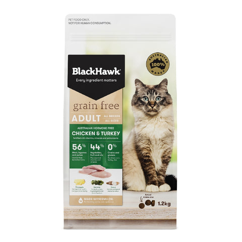 BLACKHAWK CAT ADULT GRAIN FREE CHICKEN & TURKEY 1.2KG | Southside Stockfeeds Kilmore