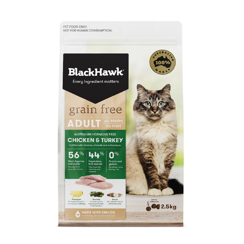 BLACKHAWK CAT ADULT GRAIN FREE CHICKEN & TURKEY 2.5KG | Southside Stockfeeds Kilmore