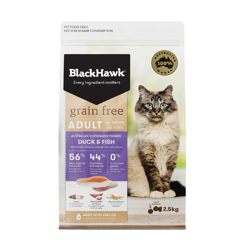 BLACKHAWK CAT ADULT GRAIN FREE DUCK & FISH 2.5KG | Southside Stockfeeds Kilmore