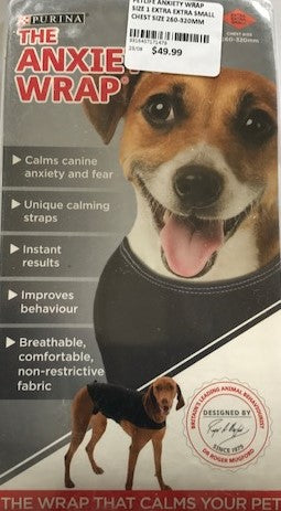 PETLIFE ANXIETY WRAP SIZE 1 EXTRA EXTRA SMALL CHEST SIZE 260-320MM | Southside Stockfeeds