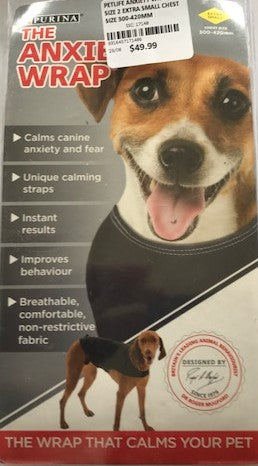 PETLIFE ANXIETY WRAP SIZE 2 EXTRA SMALL CHEST SIZE 300-420MM | Southside Stockfeeds