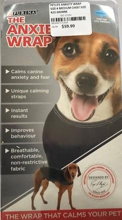 PETLIFE ANXIETY WRAP SIZE 4 MEDIUM CHEST SIZE 420-540MM | Southside Stockfeeds Kilmore
