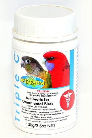 VETAFARM TRIPLE C 100G ANTIBIOTIC FOR ORNAMENTAL BIRDS | Southside Stockfeeds Kilmore