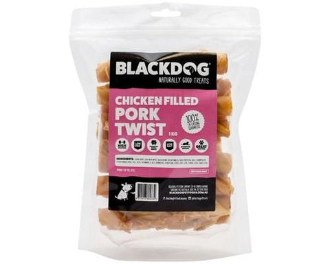 BLACKDOG CHICKEN FILLED PORK TWISTS 1KG | Southside Stockfeeds Kilmore