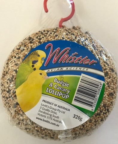 WHISTLER BUDGIE AND CANARY LOLLIPOP 320G | Southside Stockfeeds Kilmore
