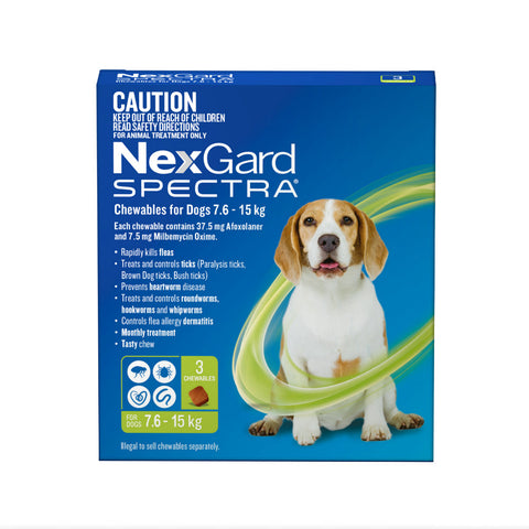 NEXGARD SPECTRA 7.6KG-15KG 3 PACK CHEWABLES FOR DOGS | Southside Stockfeeds