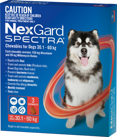 NEXGARD SPECTRA 30.1KG-60KG 3 PACK CHEWABLES FOR DOGS | Southside Stockfeeds