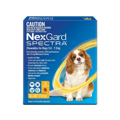 NEXGARD SPECTRA 3.6KG-7.5KG 6 PACK CHEWABLES FOR DOGS | Southside Stockfeeds