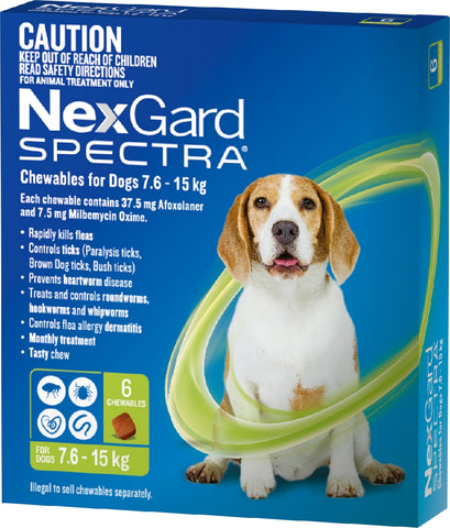 NEXGARD SPECTRA 7.6KG-15KG 6 PACK CHEWABLES FOR DOGS | Southside Stockfeeds