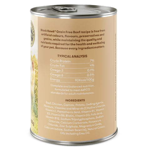 BLACKHAWK DOG GRAIN FREE BEEF CANS 400G | Southside Stockfeeds Kilmore