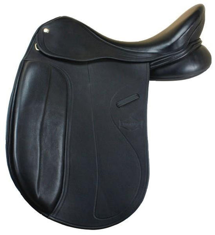 MONARCH BLACK DRESSAGE SADDLE WITH KNEE ROLLS | Southside Stockfeeds Kilmore