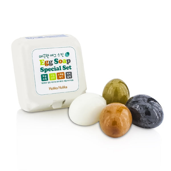 HOLIKA HOLIKA Egg Skin Soap Special Set: Charcoal Egg + White Egg + Red Clay Egg + Green Tea Egg -4x50g/1.7oz