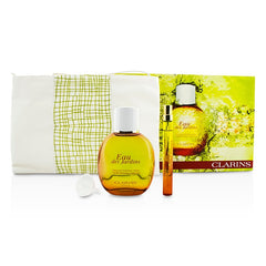 Clarins Eau Des Jardins Coffret: Fragrance Spray 100ml/3.3oz + Refillable Spray 10ml/0.3oz + Refill Funnel + Bag - 3pcs+1bag