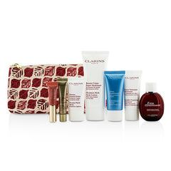 CLARINS  Trousse Feed Coffret: Eau Dynamisante 30ml/1oz + Cleanser 30ml/0.8oz + Balm 15ml/0.5oz + Cream 30ml/1oz + Shaping Lift 10ml/0.3oz + Lip Perfector 5ml/0.15oz + Body Lotion 100ml/3.2oz + Bag - 7pcs+1bag