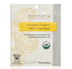 Aura Cacia SOOTHING ORGANIC MILK & OAT BATH (With Healing Helichrysum and Lemon Balm Essential Oil) (1.75oz) 49.6g - kiwla.com