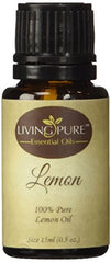 #1 Lemon Essential Oil - Pure Lemon Oil by Living Pure Essential Oils - Powerful Health Aid & Natural Disinfectant - 100% Organic Therapeutic & Aromatherapy Grade Lemon Oil - 15ml