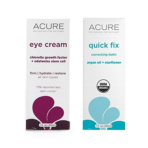 Acure Edelweiss Stem Cell Eye Cream and Quick Fix Correcting Balm Bundle For Fine Lines, Wrinkles, Cuticles, Chapped Hands and Stretch Marks With Jojoba Oil, Beeswax, Argan and Borage, 1.0 oz each