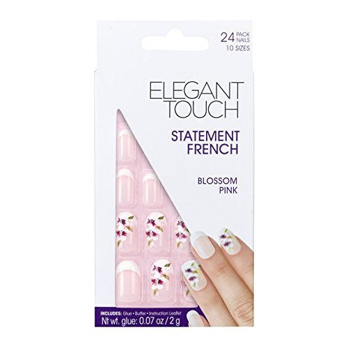 Elegant Touch Statement French Nails, Blossom Pink/Medium/Oval