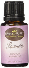 #1 Lavender Essential Oil - Pure Lavender Oil by Living Pure Essential Oils - Aid Relaxation and Freshen Rooms - PUREST Lavender from Europe - 100% Organic Therapeutic & Aromatherapy Grade - 15ml