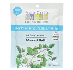 Aura Cacia MINERAL BATH SALT (Refreshing Peppermint) 1 Packet - kiwla.com