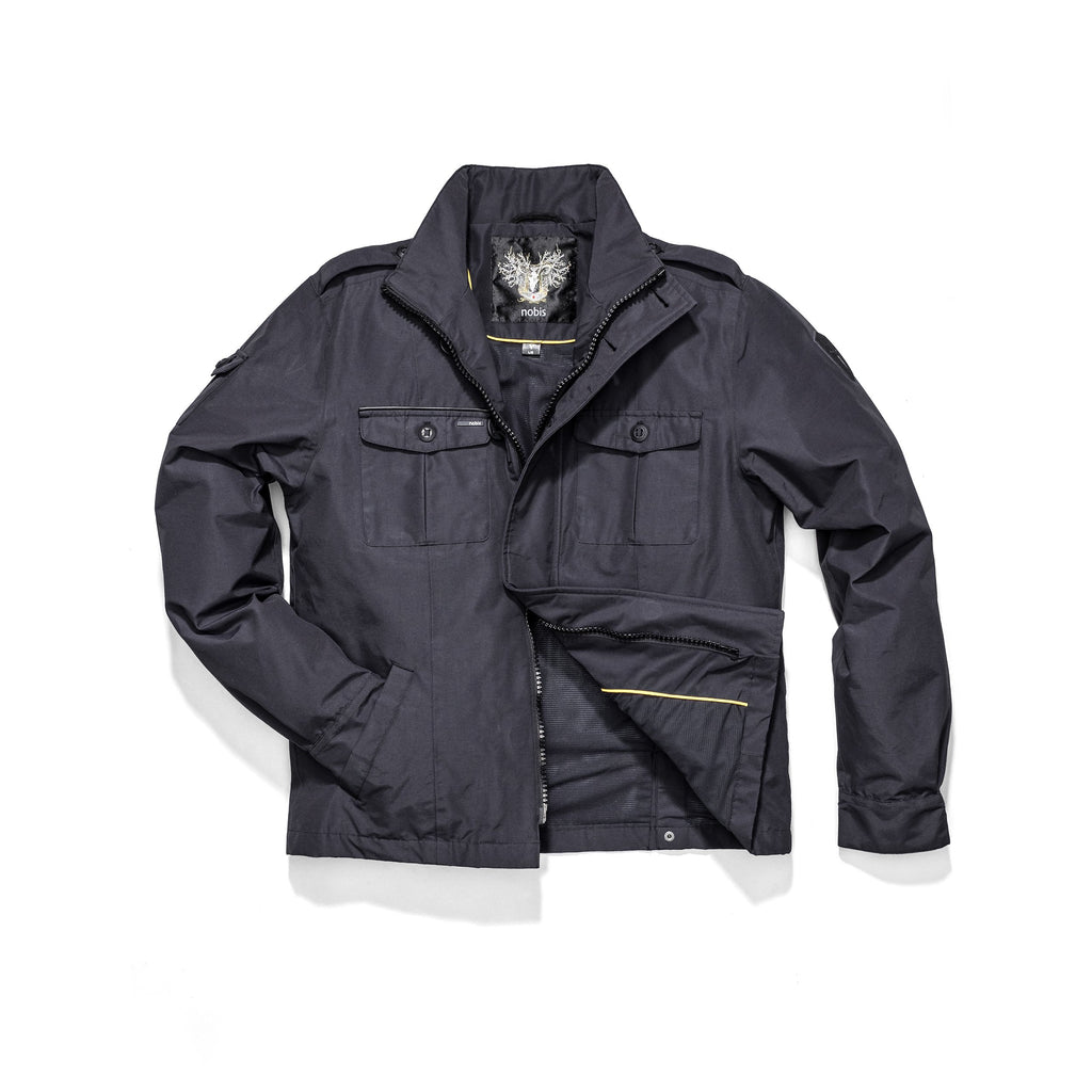 Men's waist length military style jacket in Navy.| color