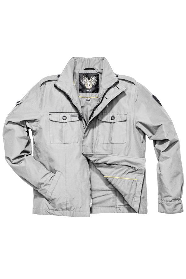 Men's waist length military style jacket in Light Grey.| color