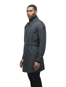 Men's thigh length trench coat with removable belt in Black